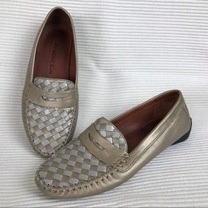 Robert Zur Leather Woven Loafer sz 8 Gold Silver